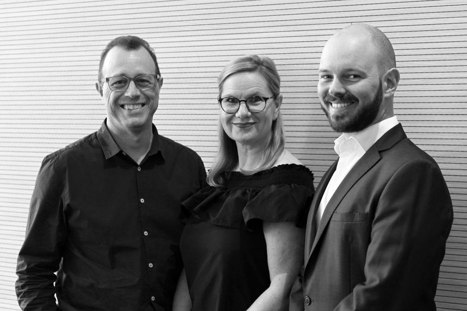 DesignInc Principals Matthew Todd, Lisa King and Nathan de Leeuw